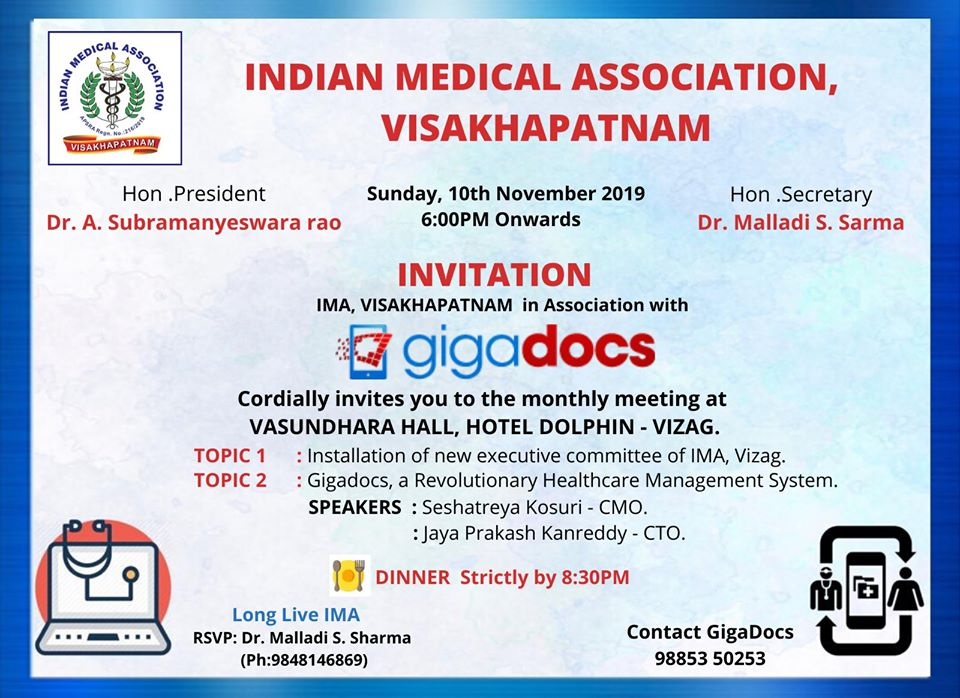 IMA, Visakhapatnam Event, Partnered with Gigadocs